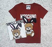 Стильная футболка для девочки подростка с мишкой цвет терракот