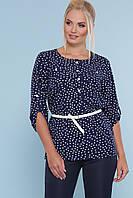 823c6d6c5ea Красивая легкая блузка в белый горох с пояском большие размеры блуза  Веста-Б 3
