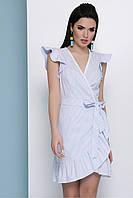 Летнее платье-сарафан в полосочку на запах Алсу б/р голубое