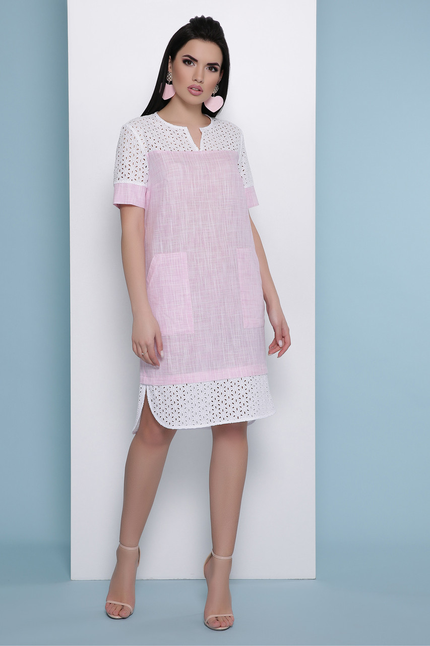 Свободное летнее льняное платье со вставками из прошвы Сати к/р розовое