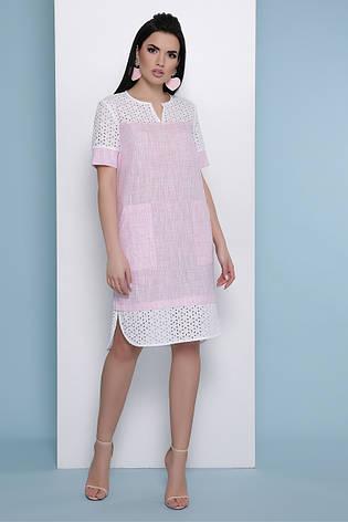 Свободное летнее льняное платье со вставками из прошвы Сати к/р розовое, фото 2
