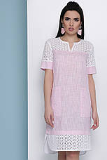 Свободное летнее льняное платье со вставками из прошвы Сати к/р розовое, фото 3