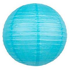 Шар плиссе декоративный подвесной 35 см голубой