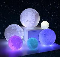 """Детский настольный светильник ночник 3D """"Луна"""" 15 см 3D Moon Touch Control лампа 8 цветов"""