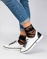 Стильные кеды женские счерные шнурками, фото 1