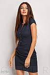 Короткое летнее платье из льна с воротником-стойка темно-синее, фото 2