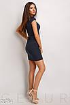 Короткое летнее платье из льна с воротником-стойка темно-синее, фото 3