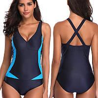 9022 Спортивный купальник Синий с голубыми вставками