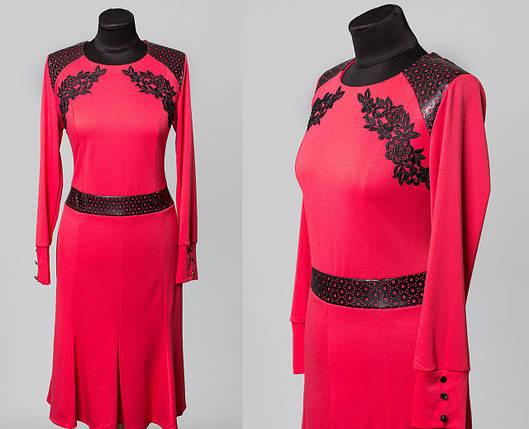 """Красивое женское платье """"Французский трикотаж"""" с перфорацией и кружевной вязкой  52 размер батал, фото 2"""
