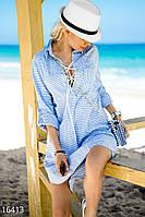 Свободное платье рубашка из льна бело-голубое