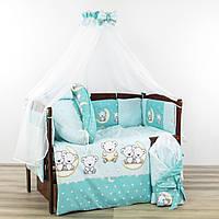 Комплект в кроватку новорожденного 10 в 1 мишки на луне бирюзового цвета