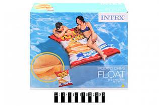 Пляжный надувной матрас - плот Intex 58776 «Чипсы», интекс 178 х 140 см