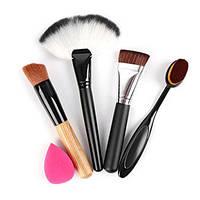 Набор аксессуаров для макияжа, 5 шт, кисть, спонж, щетка для тонального крема