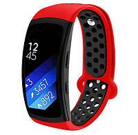 Силиконовый ремешок с перфорацией Primo для Samsung Gear Fit 2 / Fit 2 Pro ( SM-R360/R365 ) - Red&Black