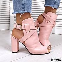 Женские кожаные розовые босоножки на удобном каблуке, фото 1