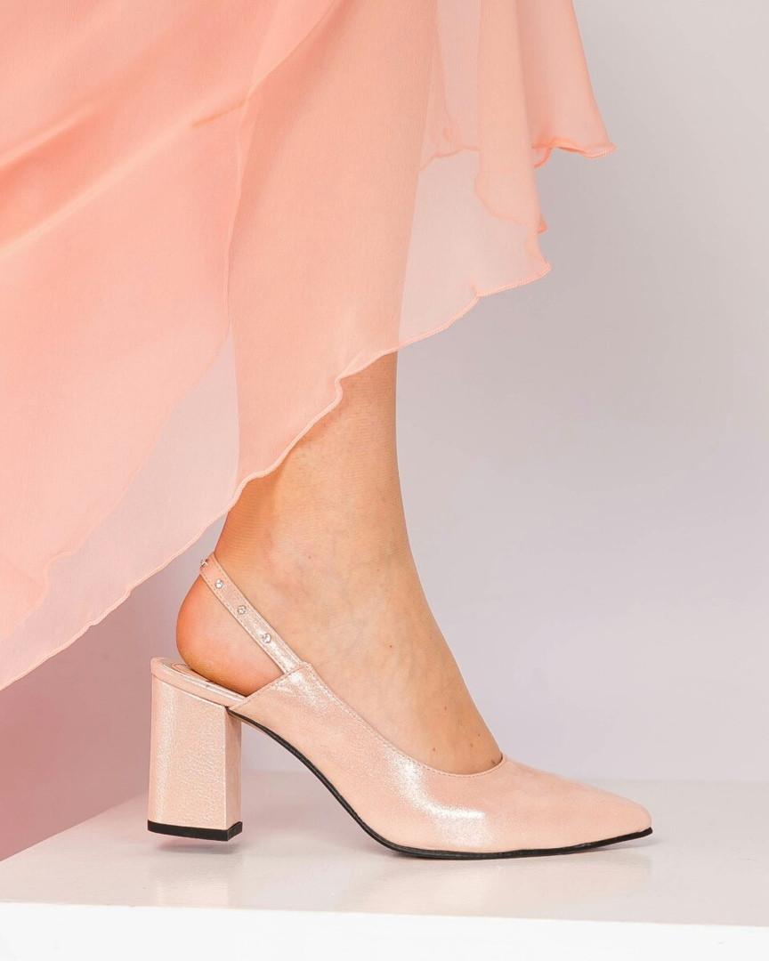Туфли женские с открытой пяткой пудра