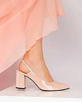 Туфли женские с открытой пяткой пудра, фото 1