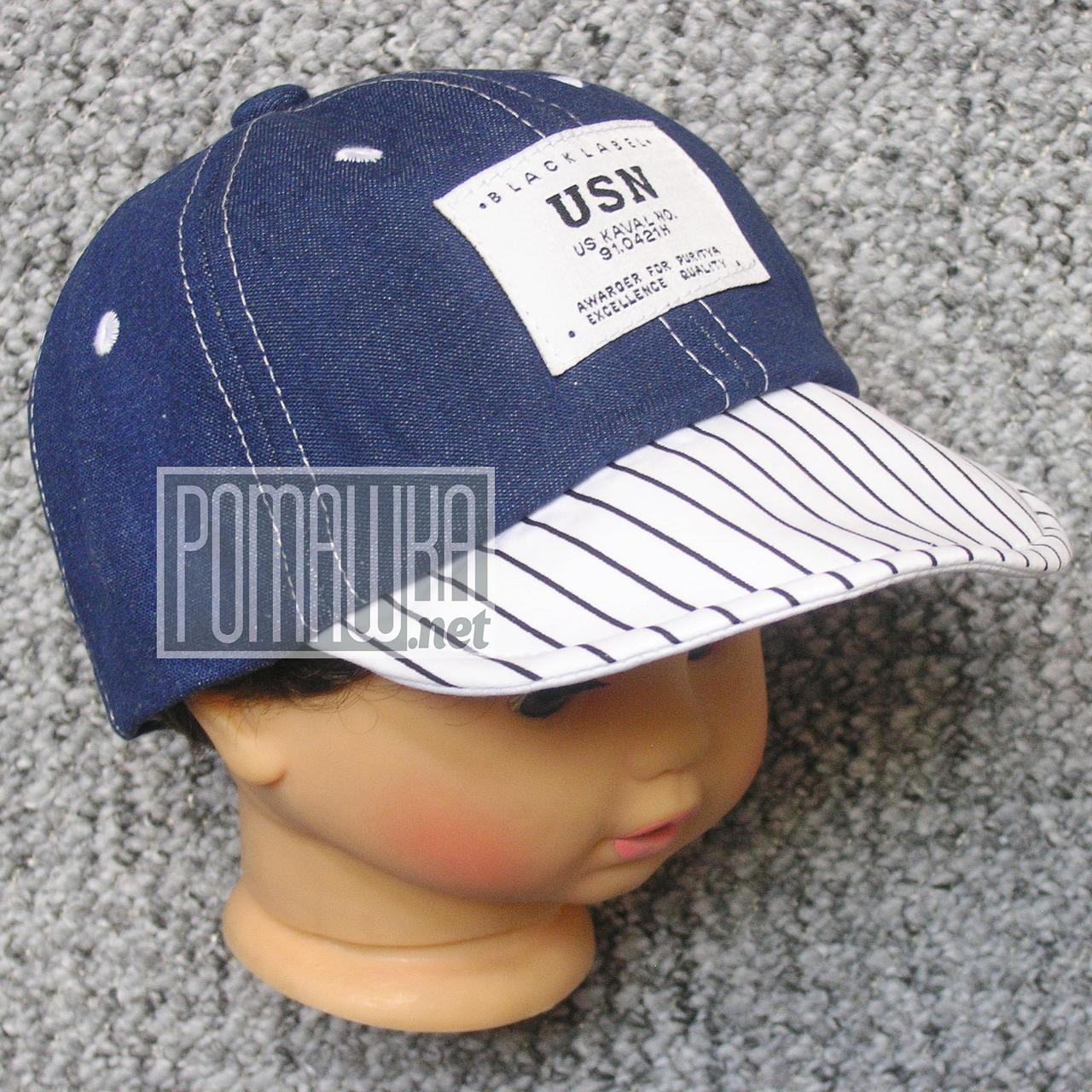 Джинсовая кепка р 46 (50) 9 мес 1-2 года гнётся козырёк бейсболка летняя мальчику малышам на лето 4729 Синий