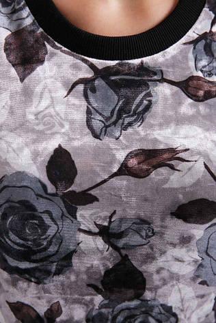 """Жіночий темний світшот """"Floret"""" з принтом Троянди, фото 2"""