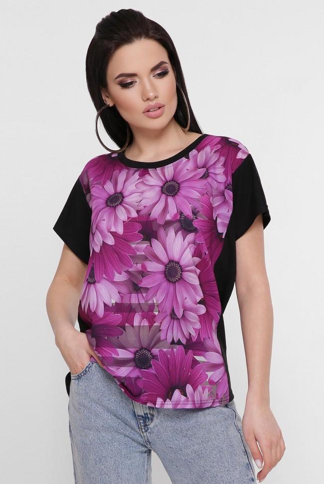 """Черная женская футболка с принтом Цветы """"Air"""" много размеров"""