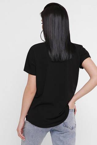 """Черная женская футболка с принтом Цветы """"Air"""" много размеров, фото 2"""