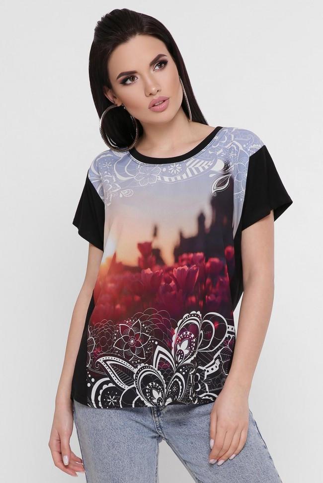 """Женская черная футболка с красивым принтом """"Air"""""""
