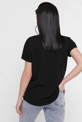 """Черная женская футболка с принтом Красные розы """"Air"""" много размеров, фото 2"""