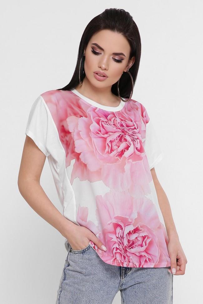 """Красивая женская футболка с принтом Цветы """"Air"""""""