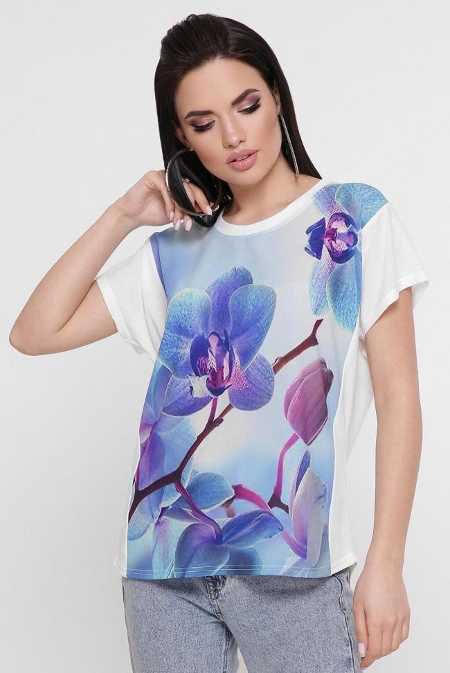 """Женская футболка с нежным цветочным принтом """"Air"""""""
