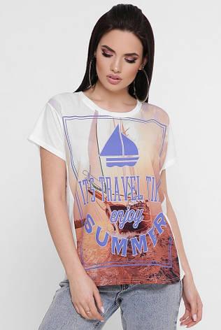 """Жіноча футболка """"Air"""" з тревел принтом, фото 2"""