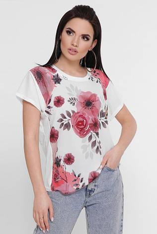 """Жіноча біла футболка з квітами """"Air"""", фото 2"""