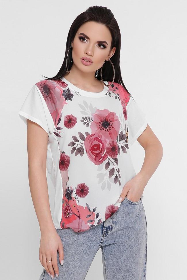 """Жіноча біла футболка з квітами """"Air"""""""