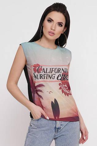 """Жіноча літня футболка без рукавів """"Classic"""" з принтом, фото 2"""