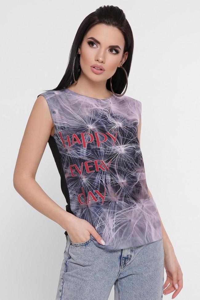 """Чорна жіноча футболка без рукавів """"Classic"""" з принтом"""