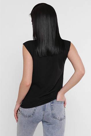 """Чорна жіноча футболка без рукавів """"Classic"""" з принтом, фото 2"""