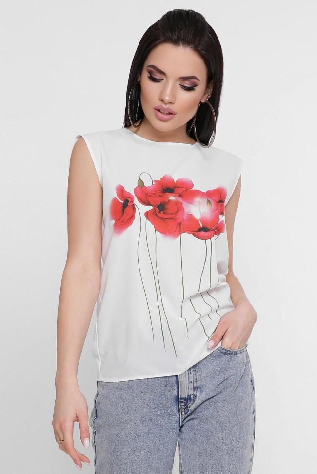 """Жіноча біла футболка без рукавів """"Classic"""" принт червоні квіти"""