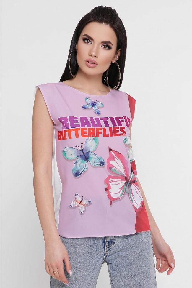 """Женская летняя футболка без рукавов """"Classic"""" принт бабочки"""