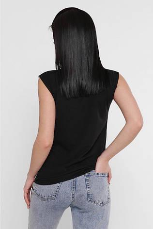 "Женская черная футболка без рукавов ""Classic"" принт Бабочки, фото 2"