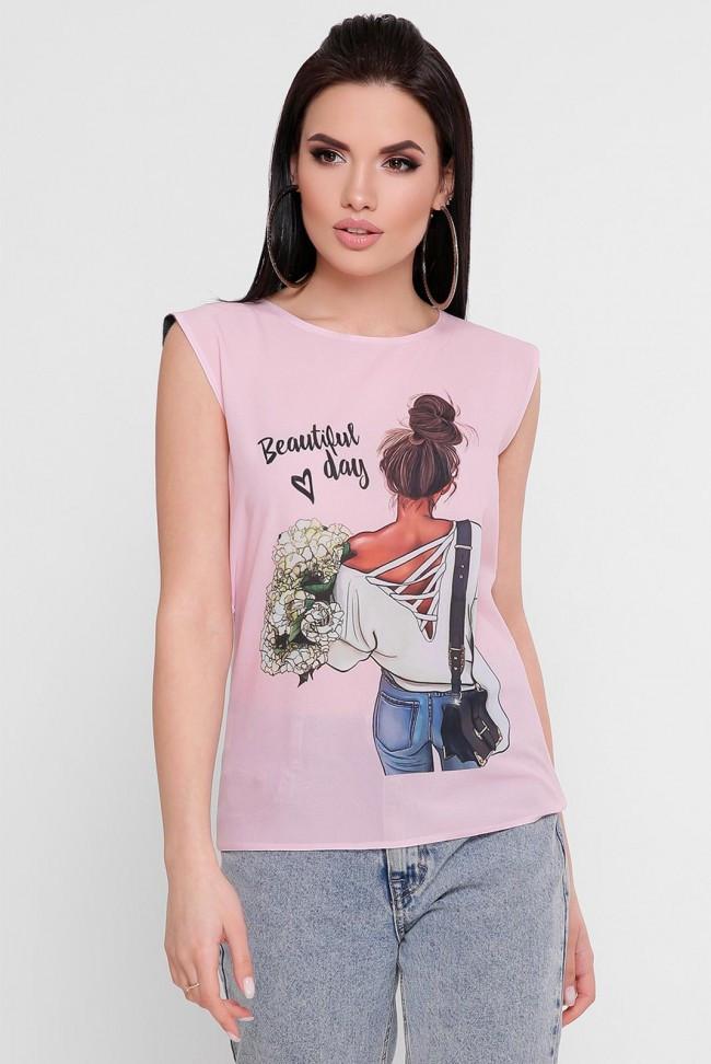 """Жіноча футболка з коротким рукавом """"Classic"""" рожевий принт"""