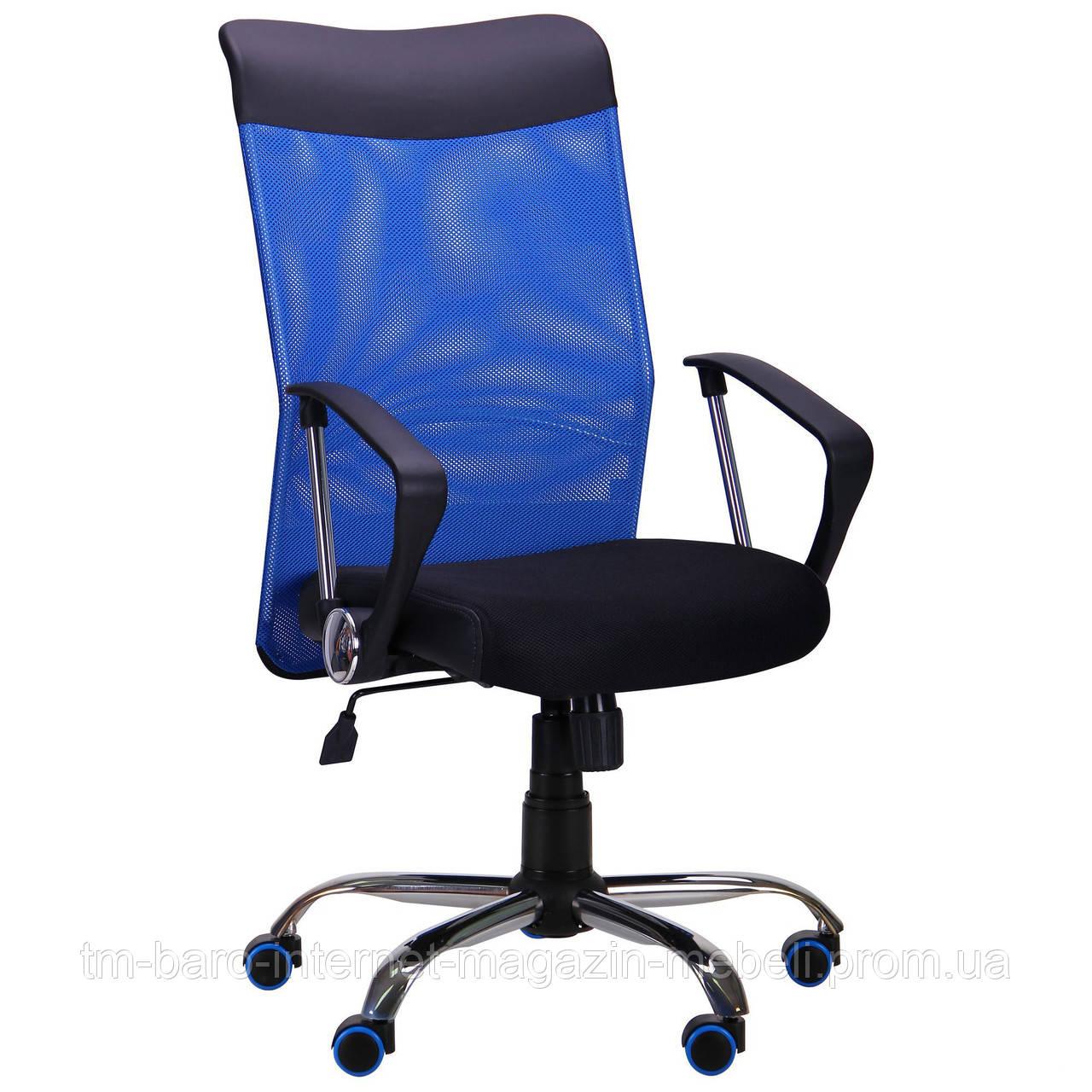 Кресло АЭРО HB Line Color сиденье Сетка чёрная,Неаполь N-20/спинка Сетка синяя, вставка Неаполь N-20