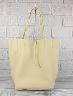 Кожаная сумка-шоппер Vera pelle 00483 бежевый, Италия, фото 1