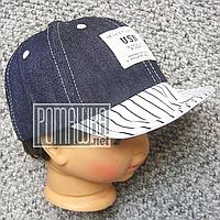 Джинсовая кепка р 46 (50) 9 мес 1-2 года гнётся козырёк бейсболка летняя мальчику малышам на лето 4729 Синий , фото 1