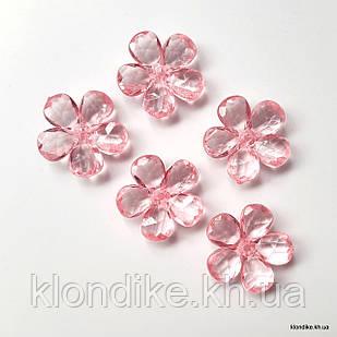 Серединки Цветочки,  d - 2.4 см, Цвет: Розовый (10 шт.)