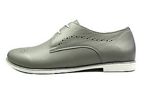 Серые кожаные женские туфли EGUZA на низком ходу