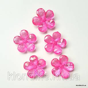 Серединки Цветочки,  d - 2.4 см, Цвет: Ярко-розовый (10 шт.)