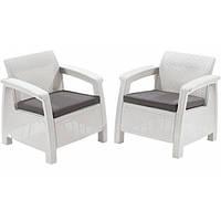 Два комфортних крісла зі штучного ротангу CORFU DUO SET білий (Allibert), фото 1