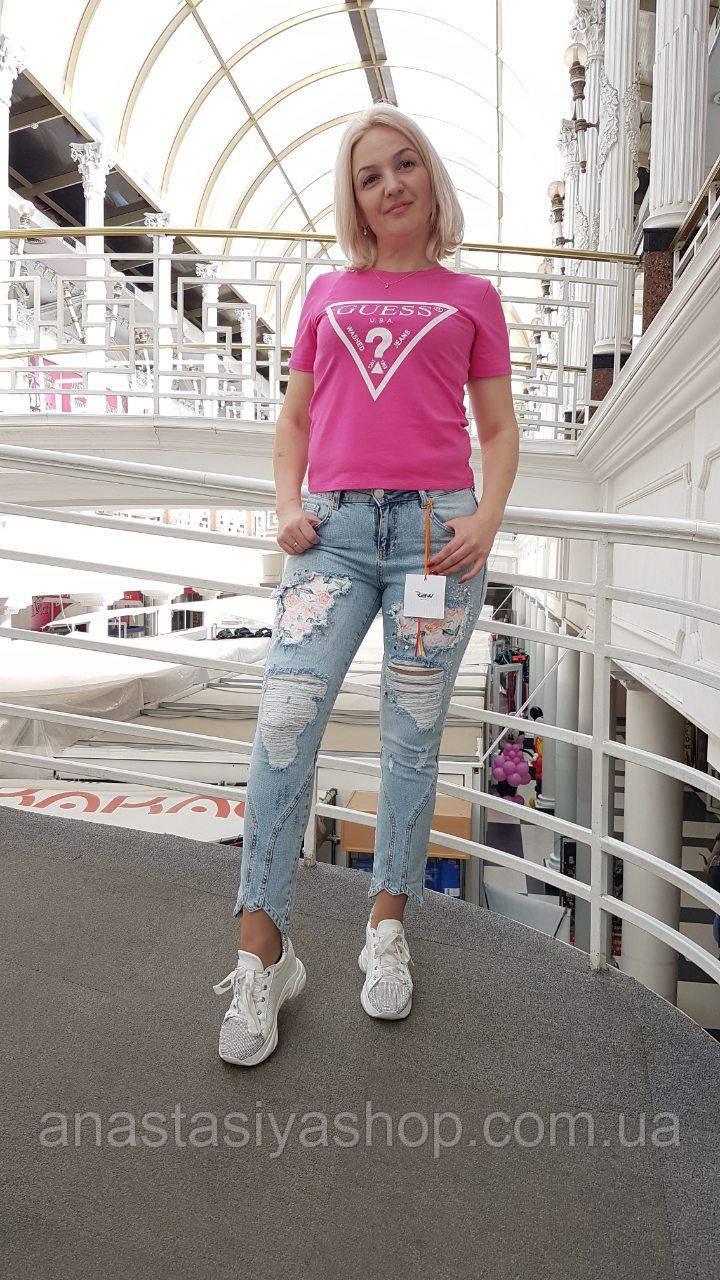 Новинка!!!Стильные джинсы с цветами