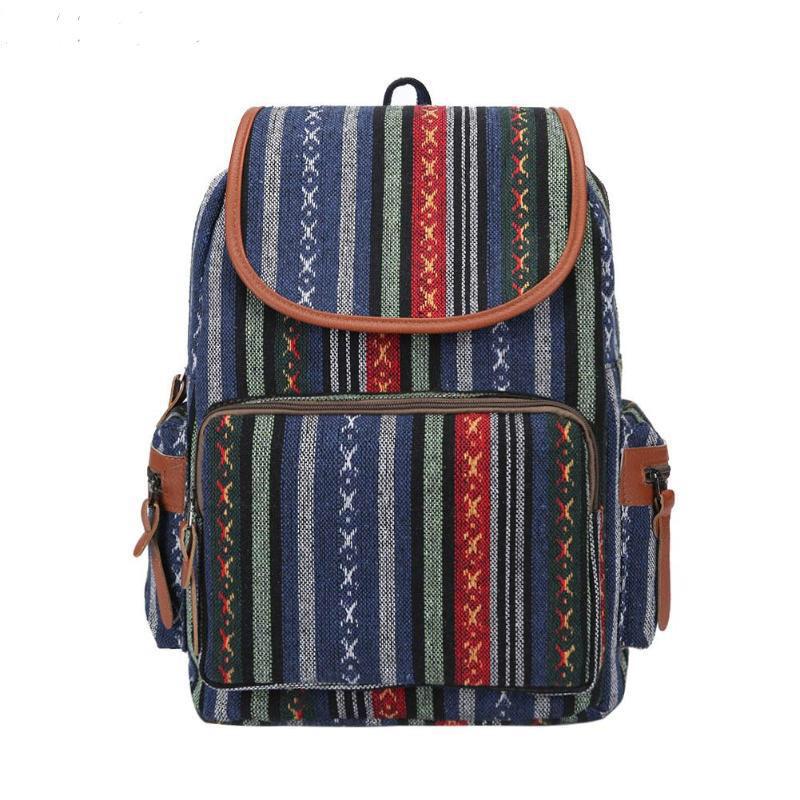 Рюкзак жіночий з візерунком в етно стилі синій.