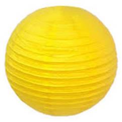 Шар плиссе подвесной 40 см большой желтый