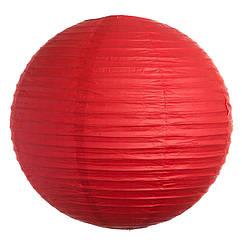 Бумажный шар плиссе 20 см красный